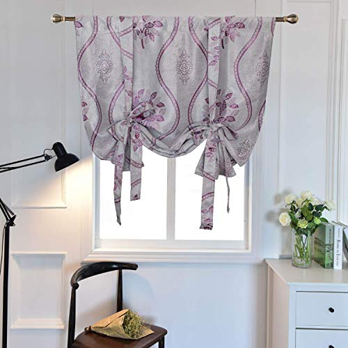 Purple Floral Tie Up Curtains Shades for Kitchen Small Windows Embroidered Room Darkening Valances Balloon Window Curtains Thermal Insulated Blackout Curtain Panel for Bedroom Living Room, 32x55 Inch