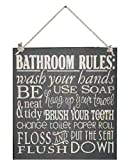 12 x 12 Inch Wood Sign Bathroom Rules Flush and Put the Seat Down
