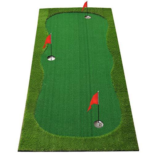 BOBURN Golf Putting Green/Mat-Golf Training Mat- Professional Golf Practice Mat- Green Long Challenging Putter for Indoor/Outdoor (Green, 4x10ft)