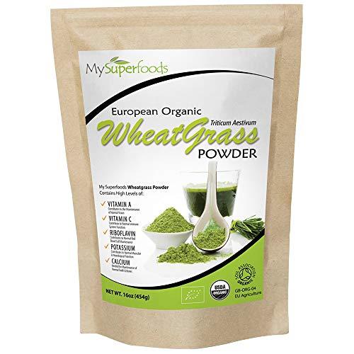 Organic Wheatgrass Powder (500g), MySuperFoods, Certified Organic, Source of Vitamin E, Calcium, Iron, Zinc, Fibre, Powerful Antioxidant