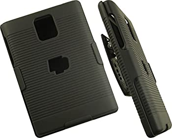 Case with Clip for BlackBerry Passport Nakedcellphone Black Ribbed Rubberized Hard Cover + Belt Hip Holster Holder Combo for BlackBerry Passport Phone  Factory Unlocked Edition Model SQW100-1