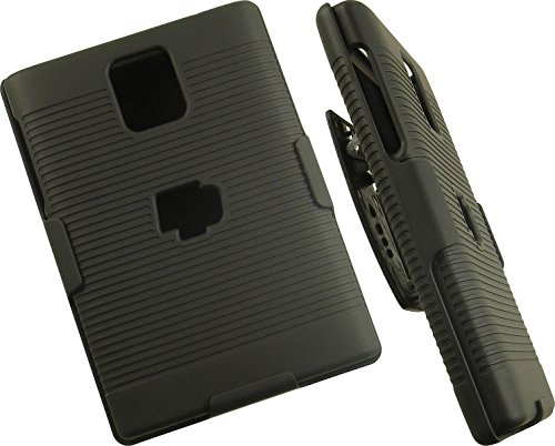 BlackBerry Passport Case with Clip, Nakedcellphone Black Ribbed Rubberized Hard Cover + Belt Hip Holster Holder Combo for BlackBerry Passport Phone (Factory Unlocked Edition, Model SQW100-1)