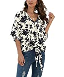 VIISHOW Womens Floral V Neck Tie Knot Front Blouses Bat Wing Short Sleeve Chiffon Tops Shirts(Black Flower,XX-Large)