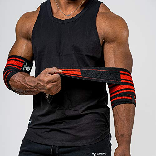 Iron Bull Strength Elbow Wraps for Weightlifting - PRO Line - Workout Elbow Straps for Weight Lifting, Bench Press, Powerlifting, Fitness and Gym - Medium Stiffness for Men (60