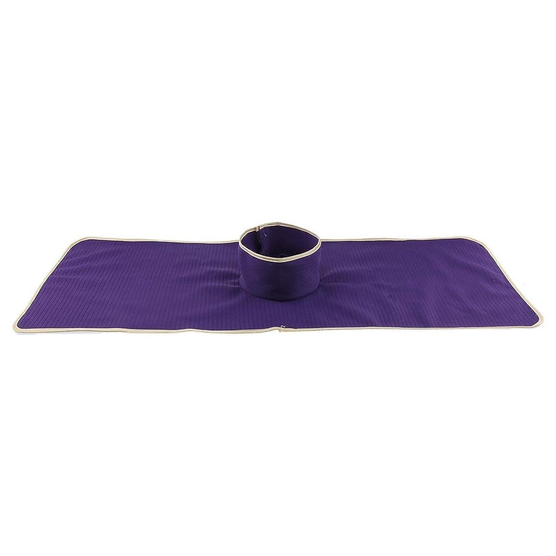 有利くしゃくしゃプラグFLAMEER マッサージのベッド用 パッド マット 顔の穴付き 洗える 約90×35cm 全3色 - 紫