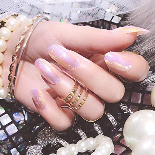 Sethexy Glänzend Ovale falsche Nägel Holografisch Spiegel Chrom Hell Vollständige Abdeckung Acryl 24 STÜCKE Falsche Fingernägel Tipps für Frauen und Mädchen (Misty Rose)