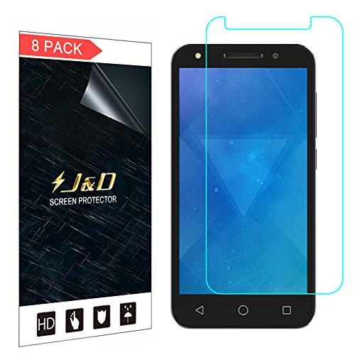J&D Compatible para 8 Paquetes Alcatel U5 Protector de Pantalla, [NO Cobertura Completa] Prima Escudo de Película Transparente HD Protector de Pantalla para Alcatel U5