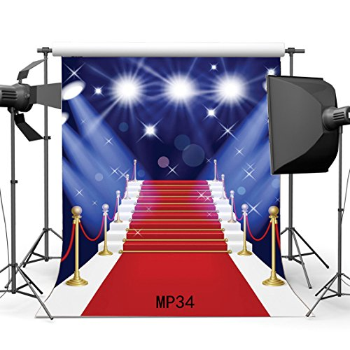 Gladbuy 5X7FT Stage Lights Red Carpet Backdrop Bokeh Halos Glitter Sequins Blue Wallpaper Elegant Stair Hollywood Vinyl Photography Background Theater Wedding Party Decoration Photo Studio Props MP34