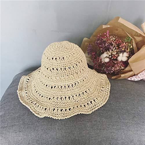 POIUIU Fischerhut,Mode Koreanische Version Der Manuellen Hakennadel Masche Hut Wilden Sommerreise Visier Frei Faltbare Damen Fischer Hut Beige