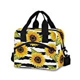 Beautiful Sunflowers Lunch Bag for Women Men Insulated Lunch Box Tote Bag with Detachable Shoulder Strap & Carry Handle,Reusable Cooler Bag for Work School Picnic