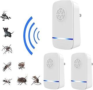 Dr.Lefran Repelente ultrasónico de plagas, Trampa de Moscas eléctrica Repelente de Mosquitos, trampas Ratones Rata roedores Anti Moustique Control de rechazo de plagas de Insectos,3Pcs