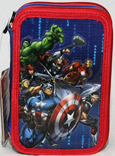 Avengers Astuccio Scuola 3 Zip con 45 Pezzi - Disney Marvel