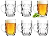 boccale da birra 0,5 l con manico, set da 6 pezzi, boccale in vetro per oktoberfest, birra, con motivo ornamentale, classico