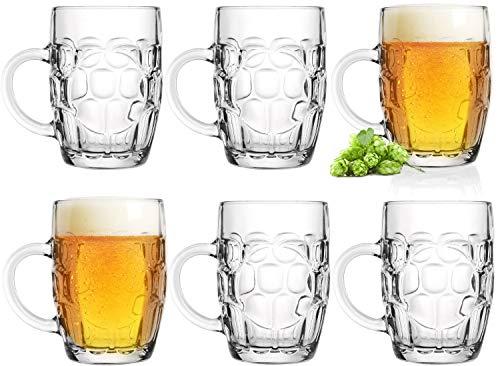 Boccale da birra 0,5 l con manico, set da 6 pezzi con misurino in vetro Oktoberfest birra con motivo decorativo, classico