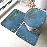 FHDA Water Lilies in The Pond 3 Piece Bathroom Rug Set, Anti-Skid Pads Bath Mat + Contour + Toilet Lid Cover