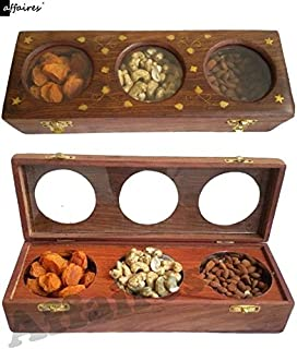 Affaires Wooden Dry Fruit Box/Masala Box/Spice Box with – 3 Storage Compartments for Decorative Accessories Gifting Christ...
