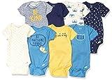 Gerber Baby Boys' 8 Pack Short-Sleeve Onesies Bodysuits, Blue Fox, 0-3 Months