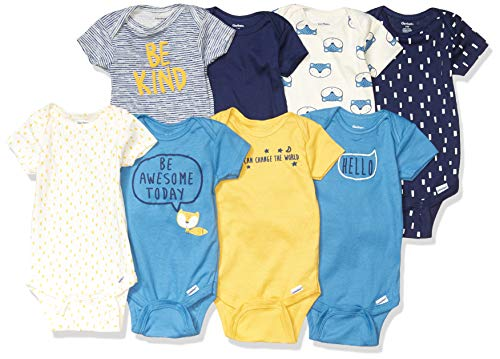 Gerber Baby Boys' 8 Pack Short-Sleeve Onesies Bodysuits, Blue Fox, 3-6 Months