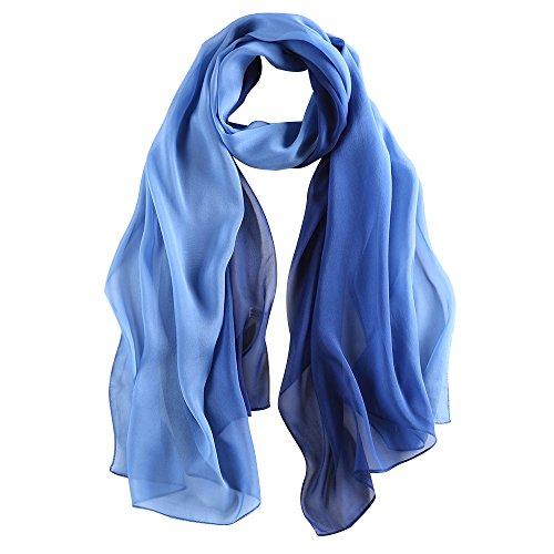 LEIDAI Frauen Seidenschal Elegante Leichte Lange Verlaufsfarben 100% Seidenschal Anti Allergie Tuch Sonnenschutz (Blau, 175 cm * 62 cm)