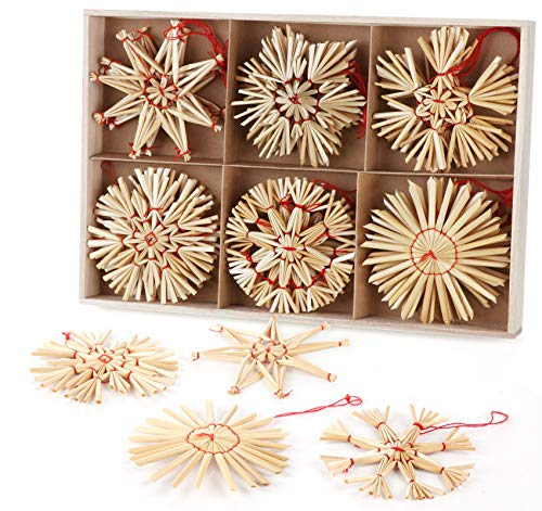 Homewit Estrellas de paja para árbol de Navidad, juego de 24 estrellas de paja natural, colgante de paja natural para decoración de Navidad, diámetro de 8 cm, con una bonita caja de madera