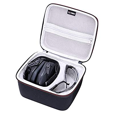 LTGEM Case for Walker's Game Ear Razor Slim or Howard Leight Impact Sport or ACTFIRE NRR 23dB Electronic Shooting Earmuff and Genesis Sharp-Shooter Shooting Glasses, with Mesh Pocket for Accessories