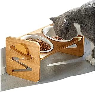 LIEKUMM 350mlの容量竹製 猫食器 小さい犬食器 ペットボウルスタンドセット 4つの角度と高さ調節可能 フードボウル 二つのセラミックボウル 滑り止め おやつ皿 お水入れ 餌入れ