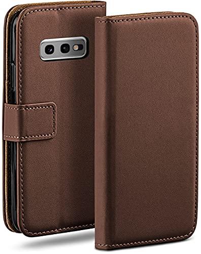 moex Klapphülle kompatibel mit Samsung Galaxy S10e Hülle klappbar, Handyhülle mit Kartenfach, 360 Grad Flip Hülle, Vegan Leder Handytasche, Dunkelbraun