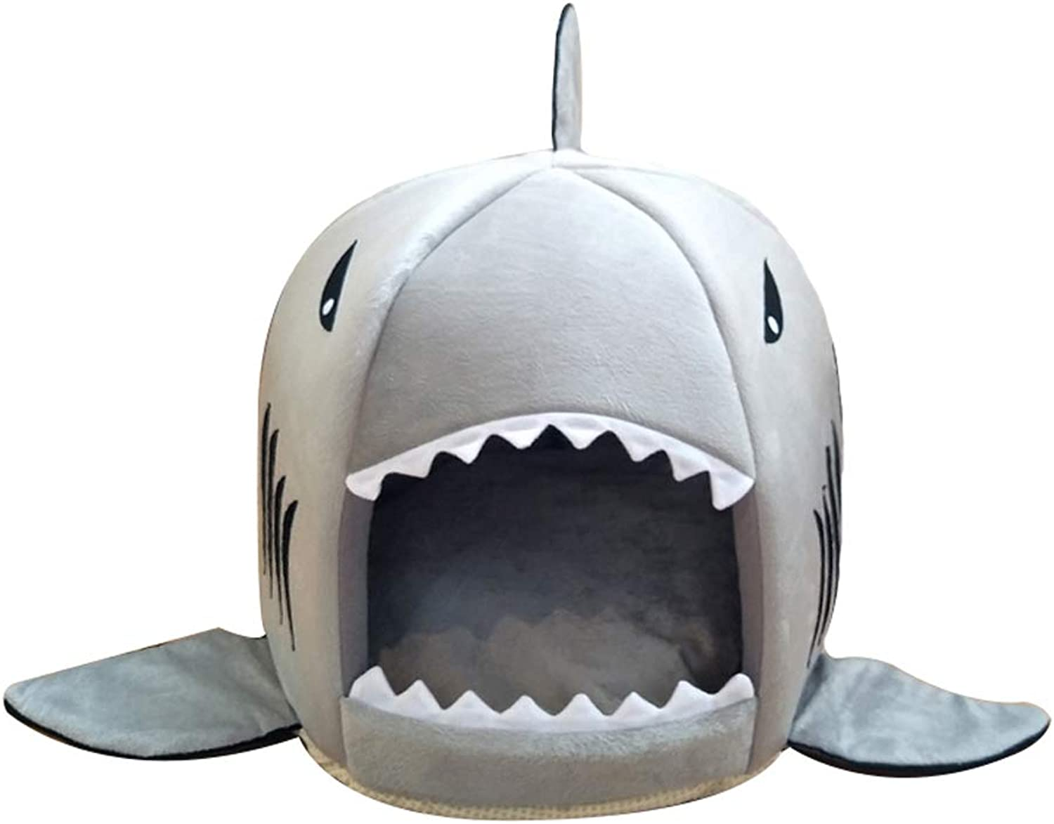 HR Shark Round House Puppy Bed With Pet Bed Mat 3 color 2 Size Optional Soft Cushion Mat Four Seasons Puppy Cave Small Dogs, Puppy, Cats, Rabbit Grey (color   A, Size   M)
