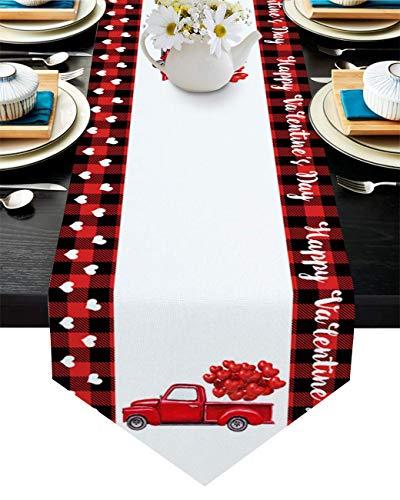 Camino de mesa de arpillera con texto en inglés 'Happy Valentine's Day', color rojo, diseño de corazón y globo