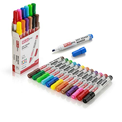 Rubex Dry Erase Markers, Whiteboard Markers, Erasable Markers, Pack of 12 Colors, Low Odor, Chisel Tip for Dry Erase Board, White board, for Office Supplies, School Supplies, Homeschool Supplies