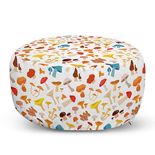 Ambesonne Mushroom Ottoman Pouf, Colorful Cartoon Forest Toadstool Pattern Childish Kids Autumnal Nature Fungus, Decorative Soft Foot Rest with Removable Cover Living Room and Bedroom, White Brown