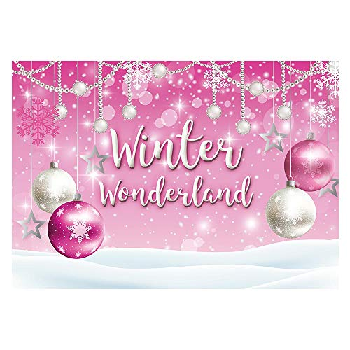 Funnytree 7x5ft Winter Wonderland Theme Backdrop for Pink Girl Baby Shower Birthday Party Christmas Snowflake Snow Landscape Photography Background Bokeh Glitter Pearl Banner Decoration Photo Booth