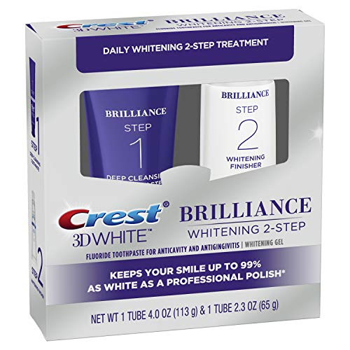 Crest 3D White Brilliance - Sistema de gel dental y blanqueador de limpieza diaria (Daily Cleansing Toothpaste And Whitening Gel System), para una sonrisa mas blanca
