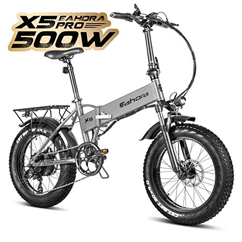 Eahora X5 Pro 20 Inch 500W Fat Tire Folding Electric Bike 48V 10.4Ah Snow Beach Electric Bicycle Lithium Battery Ebike for Adults Smart Power Recharge System 7 Speed