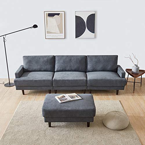 SANGDA Sofá moderno de 3 plazas, sofá en forma de L, sofá de madera maciza, sofá de tela con otomana para espacio pequeño