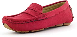 Ying-xinguang Kid's Shoe Casual Boy's Casual Driving Loafer Girl's Suede Microfiber Leather Penny Moccasins Kid's Boat Shoes Comfortable (Color : Red, Size : 2 UK Child)