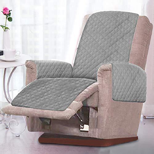 Sesselschoner Sesselauflage Relaxsessel Sofaschoner mit Zweiseitig Verwendbar Antifouling Waschmaschinenfest Gepolsterter Sofaschutz Armlehnen Sesselüberwurf (grau)