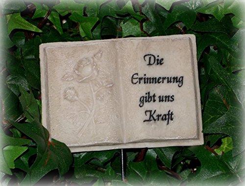 Grabdekoration Buch 'Die Erinnerung...' aus Polyresin 9,5 cm