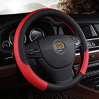 PU Leather Universal Car Steering Wheel Cover 15 inches or 38CM By ShoeTree Seller (Red & Black | by ShoeTree Seller)
