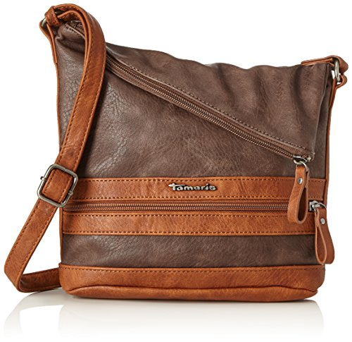 Tamaris Damen Smirne Crossbody Bag Umhängetasche, Braun (Dark Brown Comb.), 30x7,5x22 cm