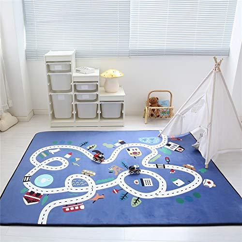 Zinsale Große Verdicken Baby Krabbeldecken Langsames Aufstehen Samt Spielmatte Kindergarten Aktivität Pad Krabbelmatte (Blaue Stadt)