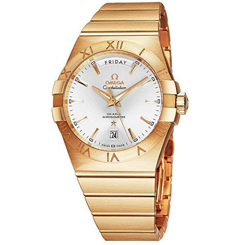 Omega Constellation Mens 18K Yellow Gold Watch Automatic - 38mm Analog Silver Face with Day, Date, Second Hand and Sapphire Crystal - Swiss Made Luxury Automatic Watch for Men 123.50.38.22.02.002