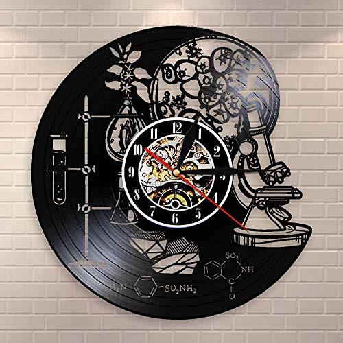 Regalos para Hombres Herramientas de la Ciencia Laboratorio de química Decoración de Pared Disco de Vinilo Reloj de Pared Biología Ciencia Molécula