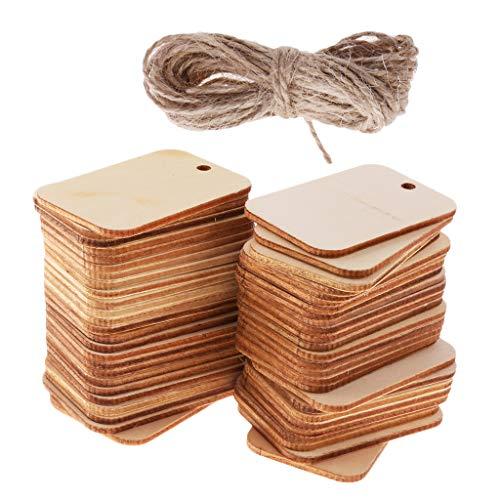 Sharplace Holz Anhänger Geschenkanhänger Namenskarte Basteln Hochzeit Party Deko Mit Seil - wie Bild, 50pcs 52x34mm