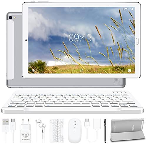 Tablet 10.0 Pulgadas YESTEL Android 10.0 Tablets con 4GB RAM + 64GB ROM - /WiFi | Bluetooth | GPS, 8000mAH, con Ratón | Teclado y Cubierta-Plata