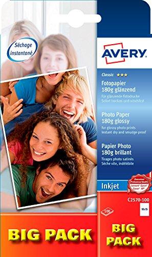 AVERY Zweckform C2570-100 Classic Inkjet Fotopapier (A6, einseitig beschichtet, glänzend, 180 g/m², 100 Blatt)