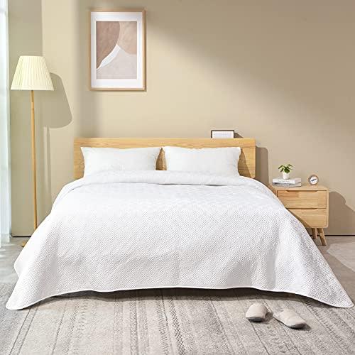 ATsense Tagesdecke 220x240 cm weiß , Schlafzimmer Bettüberwurf mit Patchwork Genäht Design, aus Mikrofaser Komfort & Weich für Bett.