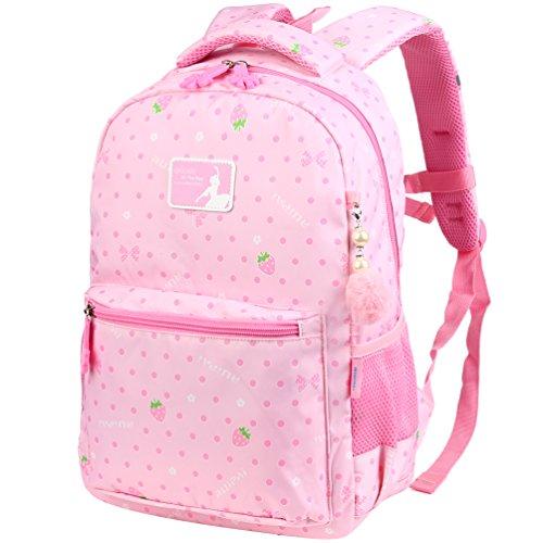 Vbiger Rucksack Mädchen Rucksack Kinder Schulrucksack Kinderrucksack Schultasche für mädchen 3-6 Klasse Rosa