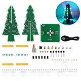 WHDTS RGB LED Flashing Christmas Tree DIY Kits Electronics Soldering Colorful 3D Xmas Tree DIY Module Funny Kits 1.6mm PCB Board for Soldering Practice Learning
