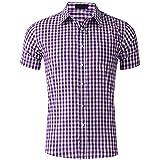 Casuales Camisas Hombre Verano Clásica Moda Cuadros Estampado Hombre Shirt Moderno Urbano Cárdigan Bolsillo Hombre Tops Wicking Transpirables Hombre Manga Corta